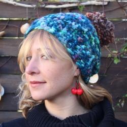Bonnet Laine vierge bleu
